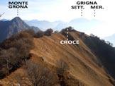 Via Normale Monte Pidaggia - La cresta finale fra la croce e la vetta