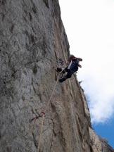 Via Normale Rocca San Leo - via Maestri-Alimonta - Il primo tiro di corda