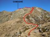 Via Normale Camoghè - Cresta SE-E - Immagine ripresa alla Bocchetta di Revolte
