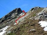 Via Normale Monte Rotondo - Cresta NE - Il risalto all'inizio delle roccette finali, da aggirare a destra