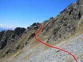 Via Normale Cima SW di Malvedello - Al centro, la rampa erbosa della traversata (vedi nota 2)
