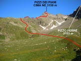 Via Normale Pizzi dei Piani - Nell'alta Val Melera, versante E dei Pizzi dei Piani