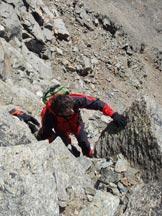 Via Normale Mare Percia - In arrampicata sull� ultima parte.