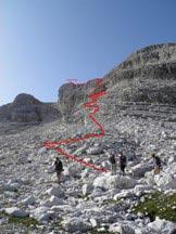 Via Normale Cima Grostè - Attacco della via normale alla cima grostè