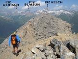 Via Normale Piz Mezzaun - La cresta finale e al centro la vetta