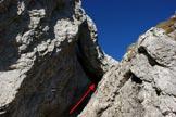 Via Normale Torrione di Valsolda - Il canaletto e la paretina sotto il masso incastrato di traverso