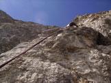 Via Normale Pala della Madonna - Salendo la fessura finale