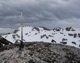 Via Normale Cima delle Grole - La croce di vetta e sullo sfondo Cima Carega.