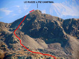 Via Normale Le Ruzze (o Piz Canfinal) - Le Ruzze, in un'immagine ravvicinata da SW, dal M. Spondascia