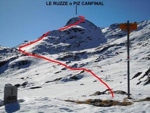 Via Normale Le Ruzze (o Piz Canfinal) da N