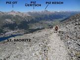 Via Normale Piz Mezdi - All'inizio della discesa dal versante W