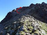 Via Normale Piz Surlej – Versante W - In salita, prima del superamento della fascia rocciosa