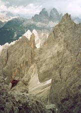 Via Normale Cima Cadin de la Neve - Sulla terrazza detritica in versante N
