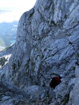 Via Normale Mangart - Ferrata Slovena - Un passaggio della Ferrata