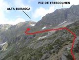 Via Normale Alta Burasca - Al centro il terrazzamento inclinato