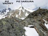 Via Normale Piz Sarsuret - A destra l'ometto in pietre della vetta