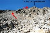Via Normale Piz de la Lumbreida - da E - Sul pendio di sfasciumi del versante E