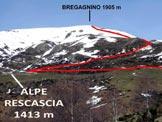 Via Normale Monte Bregagno - dai Monti di Gallio - L'itineraio per salire al Bregagnino, dai pressi dell'Alpe Rescascia