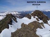 Via Normale Monte Ganda Rossa (o Cima di Gana Rossa) - Dall'anticima, la facile cresta di collegamento con la vetta