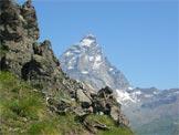 Via Normale Monte Pancherot - Dalla cresta di salita una stupenda finestra sul Cervino