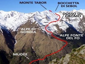 Via Normale Monte Tabor - Versante N