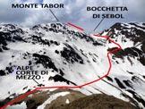 Via Normale Monte Tabor - Versante N - Immagine ripresa dal Dosso di Gromo