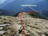 Via Normale Monte Colombana - In discesa, l'itinerario dallo snodo di cresta