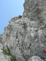 Via Normale Torre della Cima delle Cengie - il primo tiro di corda