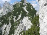 Via Normale Torre della Cima delle Cengie - la cengia con mughi del secondo tiro