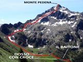 Via Normale Monte Pedena - L'itinerario, da NW