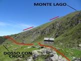 Via Normale Monte Lago - dal Rif. Alpe Lago - L'itinerario, dal dosso con la croce