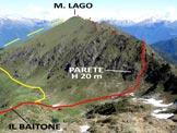 Via Normale Monte Lago - Cresta SSE - In rosso la via della cresta SSE, in giallo quella di discesa. Dal M. Pedena