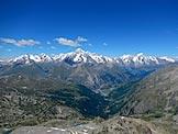 Via Normale Grand Assaly - Panorama dalla cima su tutto il gruppo del Monte Bianco