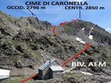 Via Normale Cime di Caronella - L�itinerario fino alla Cima Centrale, dal Bivacco AEM