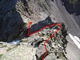 Via Normale Cime di Caronella - L'affilata cresta E della Cima Centrale