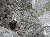 Via Normale Sasso delle Lede - Canalone di salita uscendo dalla Val Pradidali