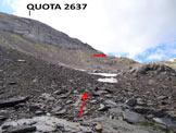 Via Normale Monte Masoni - Versante NE - Il pendio sotto la (q. 2637 m)