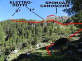 Via Normale Sponda Camoscera - Immagine ripresa dallo spiazzo, dove si abbandona la stradina che traversa al Rifugio Dordona
