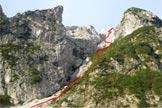 Via Normale Piz di Sagron - Anello Gabiàn - Il canalone di accesso alla Detassis-Corti