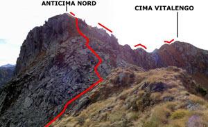 Via Normale Cima Vitalengo - vers. NW
