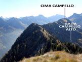 Via Normale Pizzolungo (o Pizzo Lungo) - Immagine ripresa dalla vetta del Pizzolungo