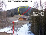 Via Normale Pizzo Mercantelli - In rosso l�itinerario della cresta NE, in giallo quello della cresta SW