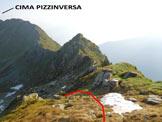 Via Normale Cima Sasso Chiaro - La larga sella dove si raggiunge la cresta N