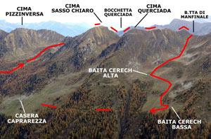 Via Normale Cima Sasso Chiaro - Cima Querciada