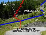 Via Normale Cima d'Arcanzo - Il 2° tornante dopo il Rif. Scotti, dove inizia il sentiero