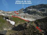 Via Normale Pizzo Scalino - dalla Val Fontana - In salita, a centro immagine le rocce carbonatiche chiare