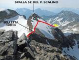 Via Normale Pizzo Scalino - dalla Val Fontana - Poco sotto la vetta, l'asterisco è il punto di ripresa della foto principale