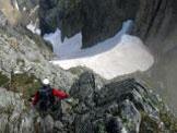 Via Normale Cima Trento - La salita centrale su roccette (I+) dalla forcella, vista scendendo