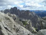 Via Normale Castellato - Dalla vetta verso Camp. Val Montanaia