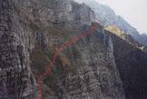 Via Normale Monte Serva - salita da N - La banca inclinata